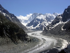 View up the Mer de Glace from Montenvers