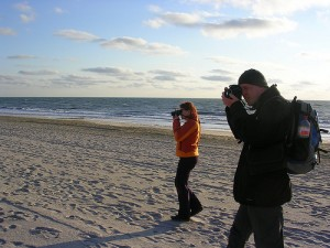 Uwe and Frauke shooting pictures of the Red Cliffs on Sylt
