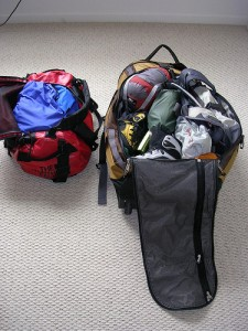 Climbing gear, packed and ready for the Alps