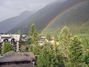 From our window: one of many rainbows after evening rains in Chamonix